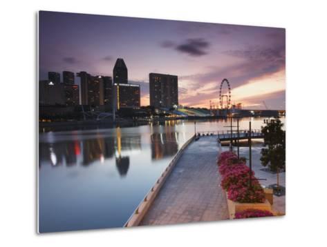 Marina Promenade at Sunrise with Singapore Flyer, Singapore, Southeast Asia, Asia-Ian Trower-Metal Print