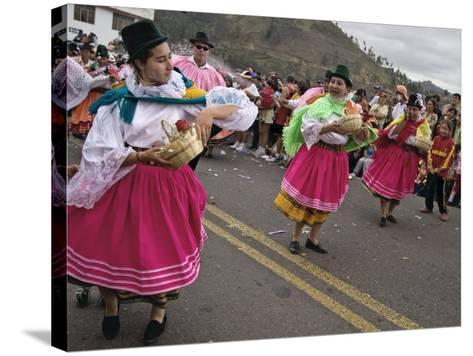Dancers in Traditional Clothing at Carnival, Guaranda, Bolivar Province, Ecuador, South America-Robert Francis-Stretched Canvas Print
