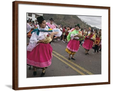 Dancers in Traditional Clothing at Carnival, Guaranda, Bolivar Province, Ecuador, South America-Robert Francis-Framed Art Print