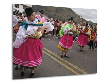 Dancers in Traditional Clothing at Carnival, Guaranda, Bolivar Province, Ecuador, South America-Robert Francis-Metal Print