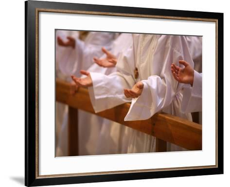 Prayer During Profession of Faith, Annecy, Haute Savoie, France, Europe-Godong-Framed Art Print
