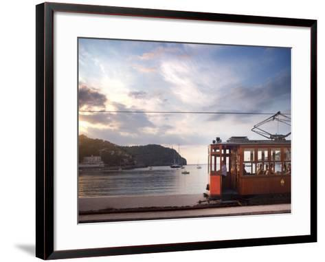Tram at Sunset Set Against Yachts in Bay, Soller, Mallorca, Balearic Islands, Spain, Mediterranean--Framed Art Print