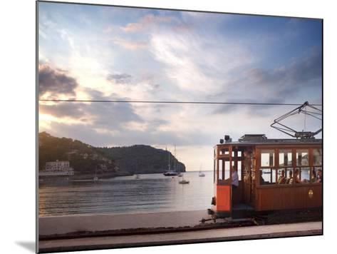 Tram at Sunset Set Against Yachts in Bay, Soller, Mallorca, Balearic Islands, Spain, Mediterranean--Mounted Photographic Print