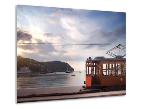 Tram at Sunset Set Against Yachts in Bay, Soller, Mallorca, Balearic Islands, Spain, Mediterranean--Metal Print
