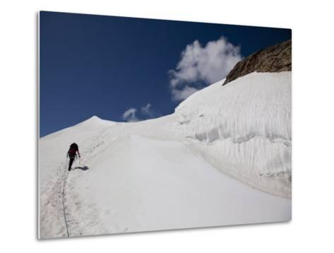 Climbing Mount Cevedale, 3769 M, Ortler Alps, South Tyrol, Italy, Europe-Carlo Morucchio-Metal Print