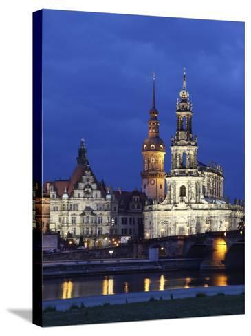 Catholic Hofkirche (Church of the Court) (St. Trinity Cathedral), Hausmann Tower, Dresden, Saxony, --Stretched Canvas Print