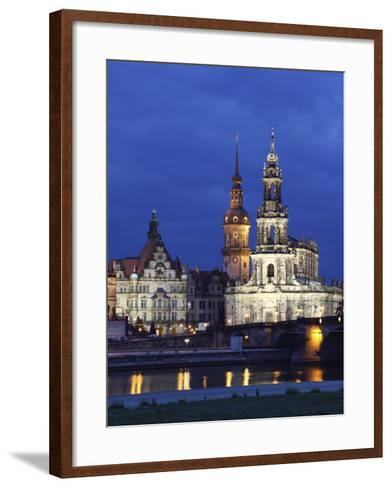 Catholic Hofkirche (Church of the Court) (St. Trinity Cathedral), Hausmann Tower, Dresden, Saxony, --Framed Art Print