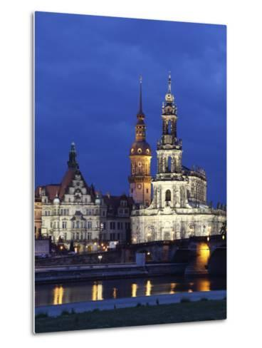 Catholic Hofkirche (Church of the Court) (St. Trinity Cathedral), Hausmann Tower, Dresden, Saxony, --Metal Print