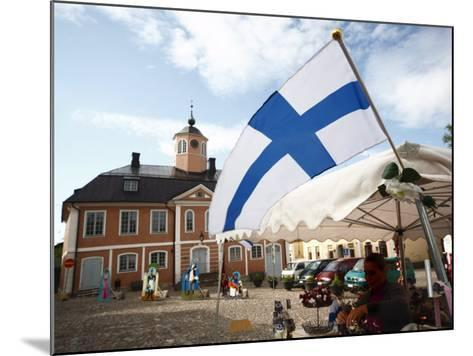 Finnish Flag and Medieval Town Hall, Old Town Square, Porvoo, Uusimaa, Finland, Scandinavia, Europe--Mounted Photographic Print