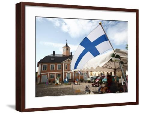 Finnish Flag and Medieval Town Hall, Old Town Square, Porvoo, Uusimaa, Finland, Scandinavia, Europe--Framed Art Print