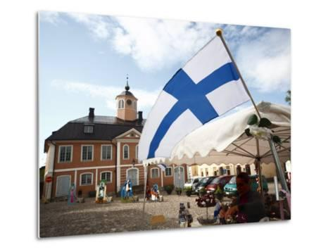 Finnish Flag and Medieval Town Hall, Old Town Square, Porvoo, Uusimaa, Finland, Scandinavia, Europe--Metal Print
