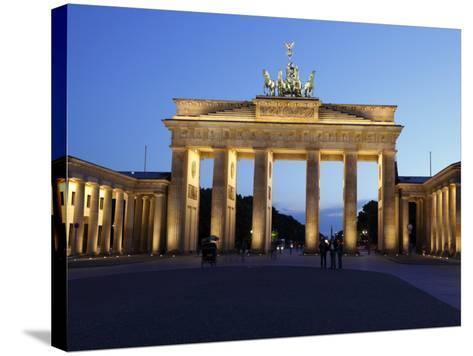 Brandenburg Gate Floodlit in the Evening, Pariser Platz, Unter Den Linden, Berlin, Germany, Europe--Stretched Canvas Print