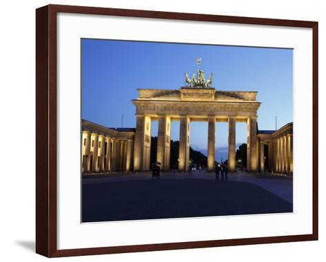 Brandenburg Gate Floodlit in the Evening, Pariser Platz, Unter Den Linden, Berlin, Germany, Europe--Framed Art Print