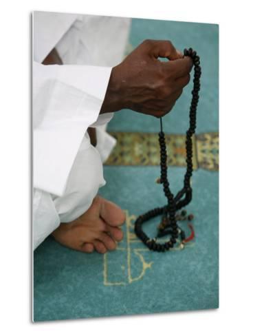 Muslim with Prayer Beads, Lyon, Rhone Alpes, France, Europe-Godong-Metal Print