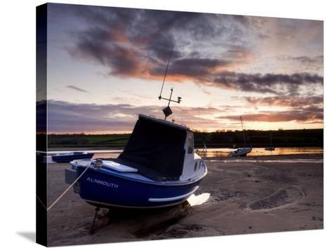 Fishing Boat on the Aln Estuary at Sunset, Alnmouth, Near Alnwick, Northumberland, England, United -Lee Frost-Stretched Canvas Print