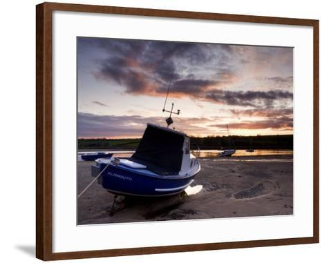 Fishing Boat on the Aln Estuary at Sunset, Alnmouth, Near Alnwick, Northumberland, England, United -Lee Frost-Framed Art Print