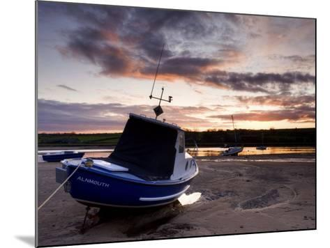 Fishing Boat on the Aln Estuary at Sunset, Alnmouth, Near Alnwick, Northumberland, England, United -Lee Frost-Mounted Photographic Print