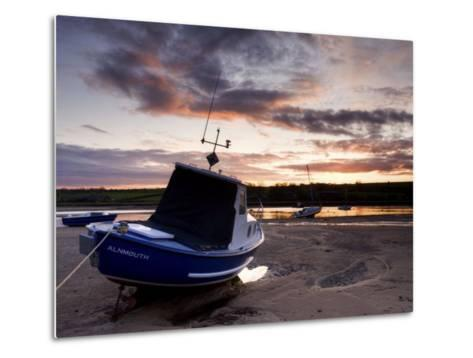 Fishing Boat on the Aln Estuary at Sunset, Alnmouth, Near Alnwick, Northumberland, England, United -Lee Frost-Metal Print