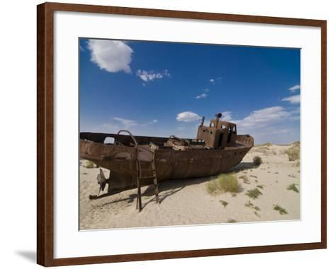 Rusting Boats Lying in the Desert Which Used to Be the Aral Sea, Moynaq, Uzbekistan, Central Asia-Michael Runkel-Framed Art Print