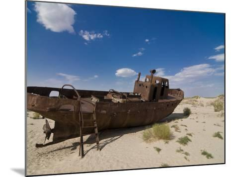 Rusting Boats Lying in the Desert Which Used to Be the Aral Sea, Moynaq, Uzbekistan, Central Asia-Michael Runkel-Mounted Photographic Print
