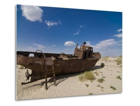 Rusting Boats Lying in the Desert Which Used to Be the Aral Sea, Moynaq, Uzbekistan, Central Asia-Michael Runkel-Metal Print