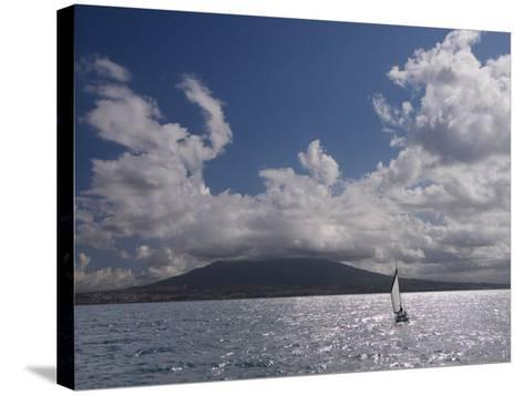 Sailing Boat with Mount Vesuvius Behind, Bay of Naples, Campania, Italy, Mediterranean, Europe--Stretched Canvas Print