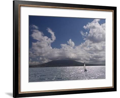 Sailing Boat with Mount Vesuvius Behind, Bay of Naples, Campania, Italy, Mediterranean, Europe--Framed Art Print