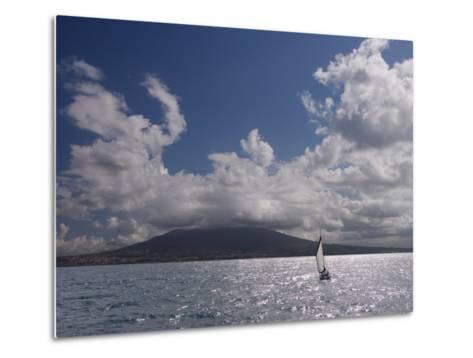 Sailing Boat with Mount Vesuvius Behind, Bay of Naples, Campania, Italy, Mediterranean, Europe--Metal Print