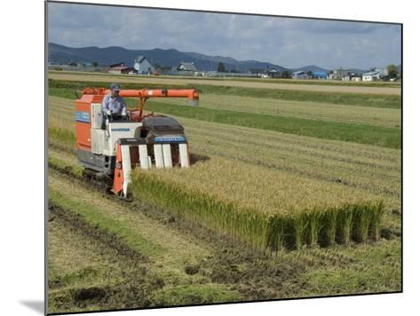 Rice Harvest with Mini-Combine-Harvester, Furano Valley, Central Hokkaido, Japan, Asia-Tony Waltham-Mounted Photographic Print