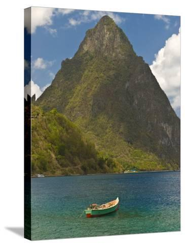 Wooden Rowboat Is Lying in Atlantic Ocean, St. Lucia, Windward Islands, West Indies, Caribbean-Michael Runkel-Stretched Canvas Print