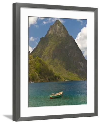 Wooden Rowboat Is Lying in Atlantic Ocean, St. Lucia, Windward Islands, West Indies, Caribbean-Michael Runkel-Framed Art Print