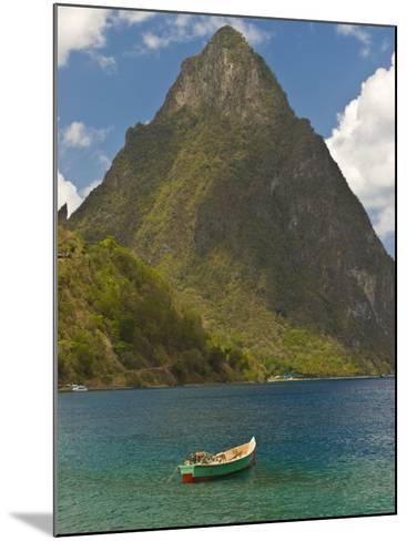 Wooden Rowboat Is Lying in Atlantic Ocean, St. Lucia, Windward Islands, West Indies, Caribbean-Michael Runkel-Mounted Photographic Print