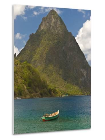Wooden Rowboat Is Lying in Atlantic Ocean, St. Lucia, Windward Islands, West Indies, Caribbean-Michael Runkel-Metal Print