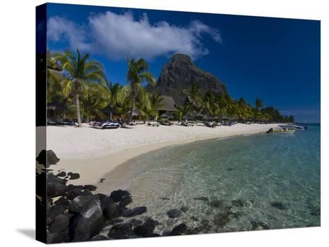 Sun Loungers on Beach and Mont Brabant (Le Morne Brabant), Mauritius, Indian Ocean-Michael Runkel-Stretched Canvas Print