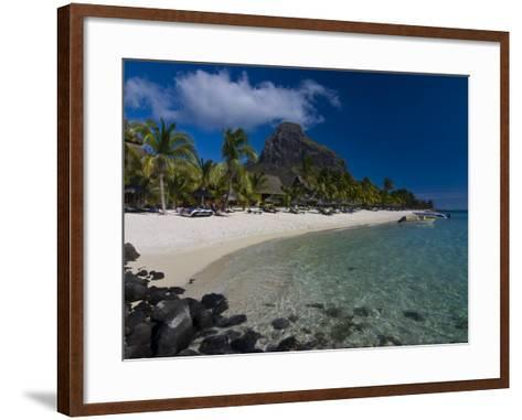 Sun Loungers on Beach and Mont Brabant (Le Morne Brabant), Mauritius, Indian Ocean-Michael Runkel-Framed Art Print