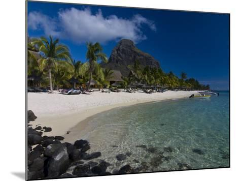 Sun Loungers on Beach and Mont Brabant (Le Morne Brabant), Mauritius, Indian Ocean-Michael Runkel-Mounted Photographic Print