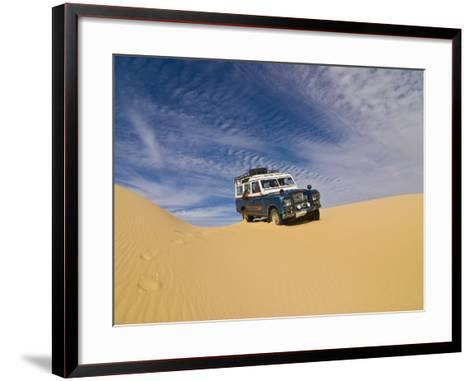 Jeep Driving Through the High Sand Dune of Western Desert, Near Siwa, Egypt, North Africa, Africa-Michael Runkel-Framed Art Print
