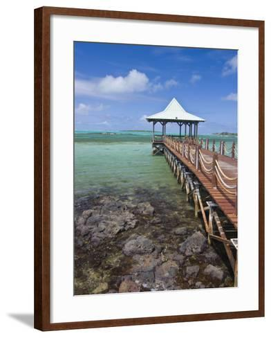 Pier Is Leading into the Blue Sea and Ends in a Small Hut, Mauritius, Indian Ocean, Africa-Michael Runkel-Framed Art Print