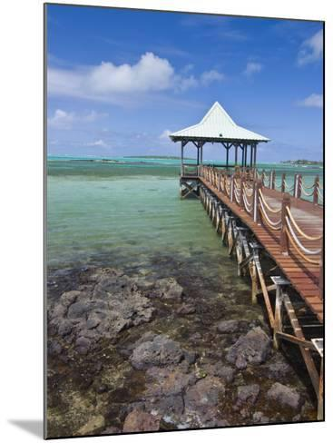 Pier Is Leading into the Blue Sea and Ends in a Small Hut, Mauritius, Indian Ocean, Africa-Michael Runkel-Mounted Photographic Print