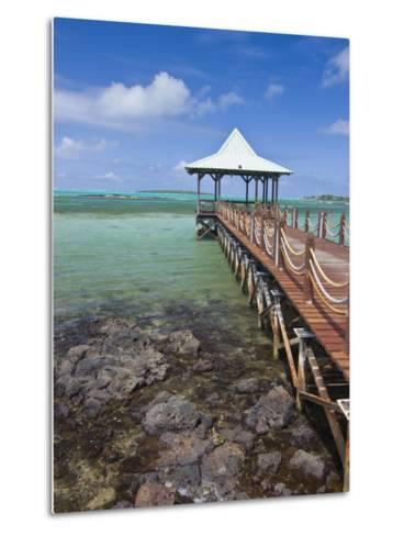 Pier Is Leading into the Blue Sea and Ends in a Small Hut, Mauritius, Indian Ocean, Africa-Michael Runkel-Metal Print