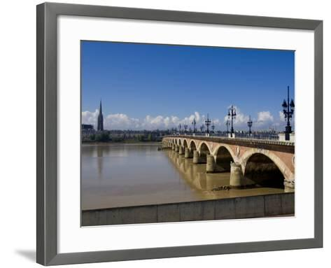 Pont De Pierre, Bordeaux, Gironde, Aquitaine, France, Europe-Charles Bowman-Framed Art Print