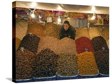 Dried Fruit Seller, Place Jemaa (Djemaa) El Fna, Marrakech (Marrakesh), Morocco, North Africa-Nico Tondini-Stretched Canvas Print