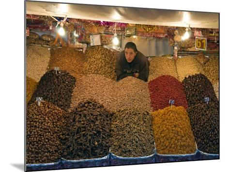 Dried Fruit Seller, Place Jemaa (Djemaa) El Fna, Marrakech (Marrakesh), Morocco, North Africa-Nico Tondini-Mounted Photographic Print