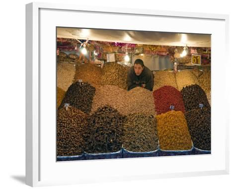 Dried Fruit Seller, Place Jemaa (Djemaa) El Fna, Marrakech (Marrakesh), Morocco, North Africa-Nico Tondini-Framed Art Print