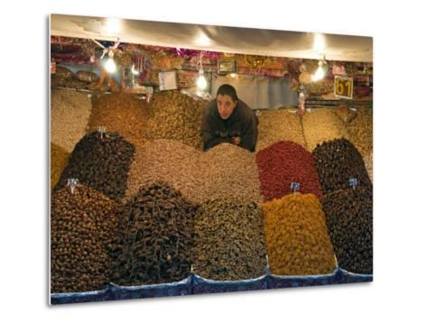 Dried Fruit Seller, Place Jemaa (Djemaa) El Fna, Marrakech (Marrakesh), Morocco, North Africa-Nico Tondini-Metal Print