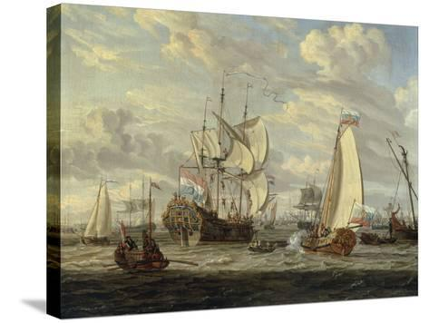 Peter the Great visiting the 'Peter and Paul'-Abraham Storck-Stretched Canvas Print