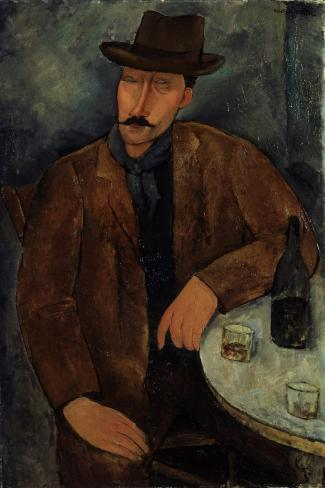 L'Homme au Verre de Vin, c.1918-19-Amedeo Modigliani-Stretched Canvas Print