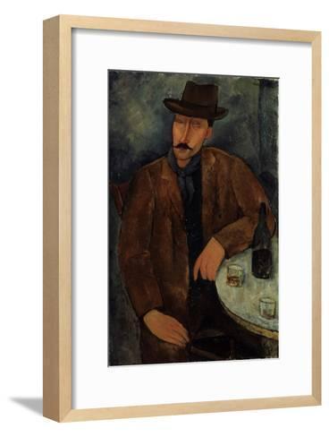 L'Homme au Verre de Vin, c.1918-19-Amedeo Modigliani-Framed Art Print