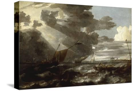 An Estuary Scene in a Gale, with Fishermen hauling in a Fixed Line-Bonaventura Peeters-Stretched Canvas Print