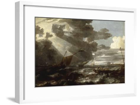 An Estuary Scene in a Gale, with Fishermen hauling in a Fixed Line-Bonaventura Peeters-Framed Art Print